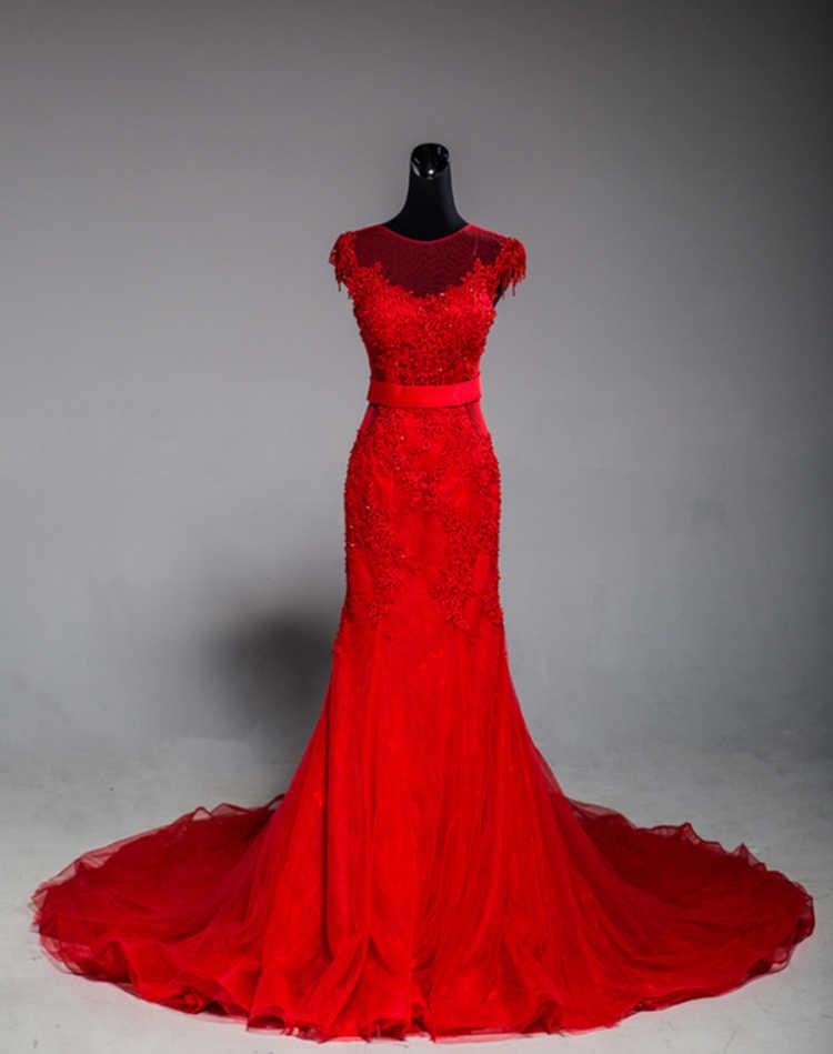 Vinca サニーリアルフォト 2020 高品質エレガントなレースアップリケレッドマーメイドウェディングドレス vestidos デ noiva ローブ · デ · マリアージュ