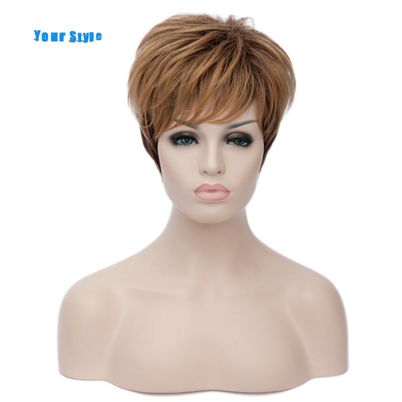 su estilo de corte corto cortes de pelo rizado sinttico pelucas de cabello natural para las