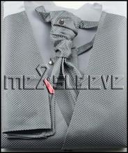 wedding formal wear man's  grey dot  waistcoat (waistcoat+ascot tie+cufflinks+handkerchief)