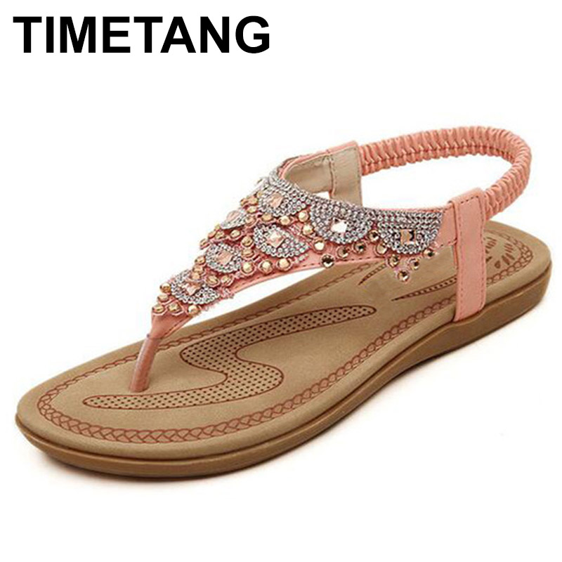 TIMETANG Flat Sandals T-strap Fashion Trend Sandals Bohemia National Flat Heel Beaded Female shoes sale women shoes вертикально сверлильный станок jet jdp 10 10000350m