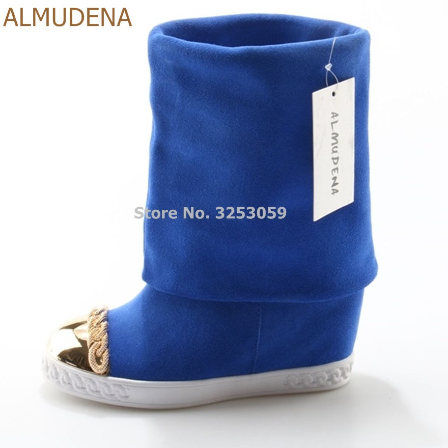 ALMUDENA Women Mid-calf Chain Embellished Turn Off Boots Metal Decoration Blue White Black Suede Wedge Heel Motorcycle Boots wedge heel faux suede mid calf sock boots