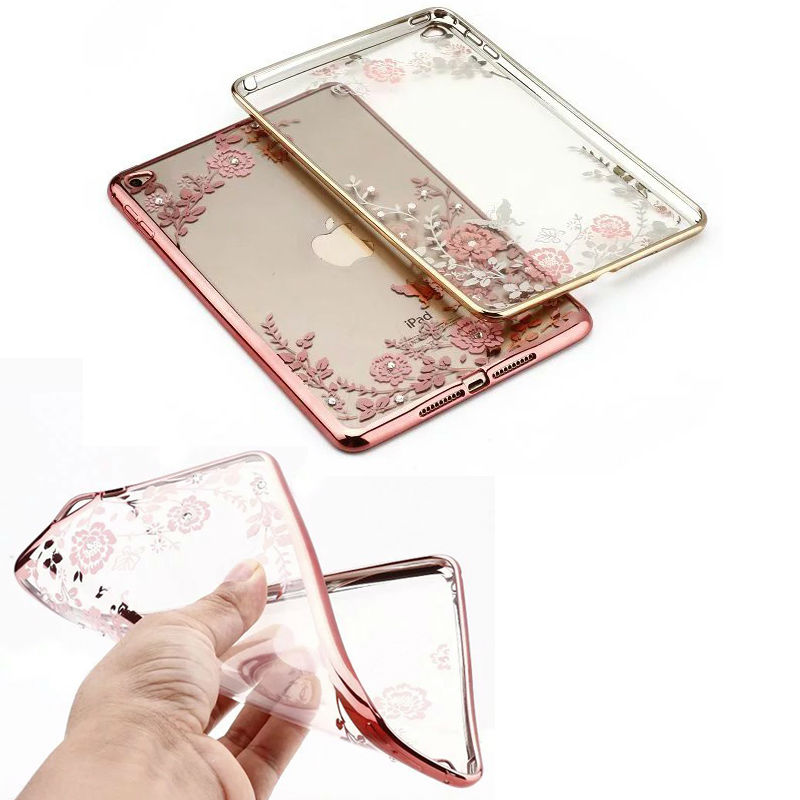 Rhinestone Cases Clear Crystal Bling Gliter Soft TPU rubber Silicone Gel Case For Apple iPad Mini 4 P Tablet Back Cover S2D58D