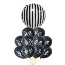 New Racing Flag Cars White Black Foil Balloons Checkered Car Race Line Ballons Birthday Wedding Party Decoration Globos Kid Toys(China)