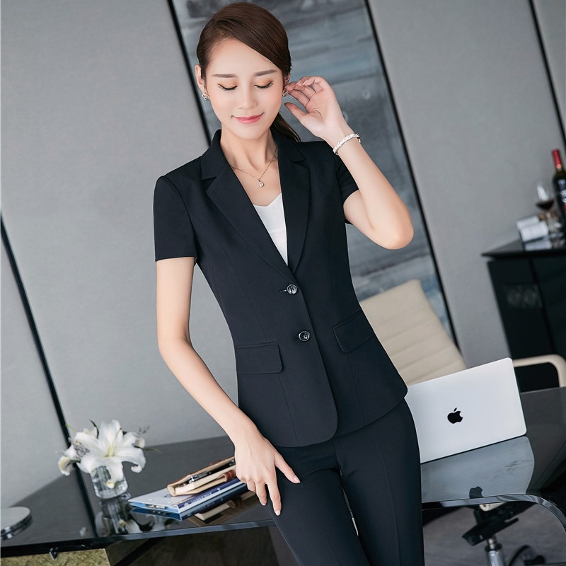 2017 Summer Formal Uniform Design Professional Pantsuits With Tops And Pants For Ladies Office Work Wear Business Women Blazers