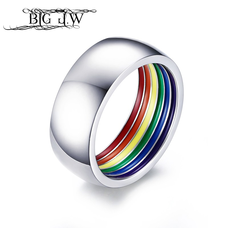 BIG J.W 8mm Wide Inner Rainbow Ring Men Stainless Steel Gay Pride Minimalist Rings for Women Anillos Mujer Engagement Ring