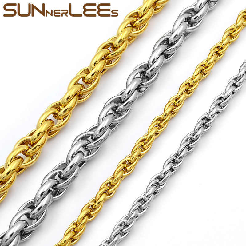 SUNNERLEES Fashion Jewelry 316L Stainless Steel Necklace Gold Color 5mm~11mm Oval Rope Twisted Link Chain For Mens Womens SC31 N