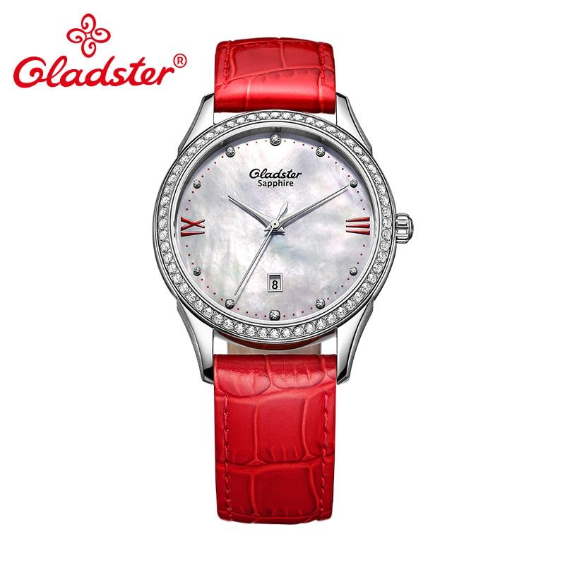 Gladster Luxury Brand Shell Women Wristwatch Genuines Leather Waterproof Female Watch Fashion Sapphire Crystal LadyDress Watch watch crystal