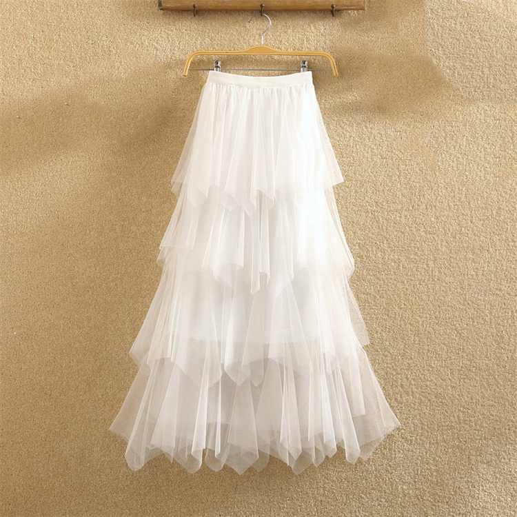 Women irregular Tulle Skirts Fashion Elastic High Waist Mesh Tutu Skirt Pleated Long Skirts Midi Skirt Saias Faldas Jupe Femmle 34