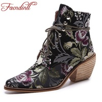 FACNDINLL Brand Designer Shoes Women Leather Ankle Boots Ladies Dress Shoes Pointed Toe Lace Up Fashion