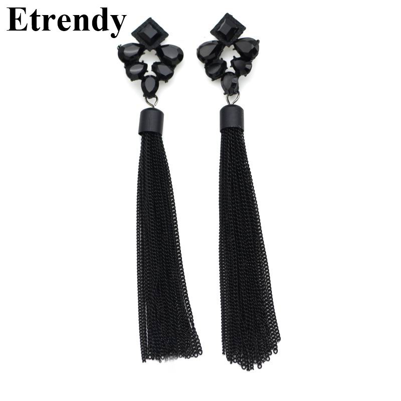 2019 New Personality Black Metal Tassel Long Earrings For Women Rhinestone Trendy Jewelry Party Statement Earrings Nightclub