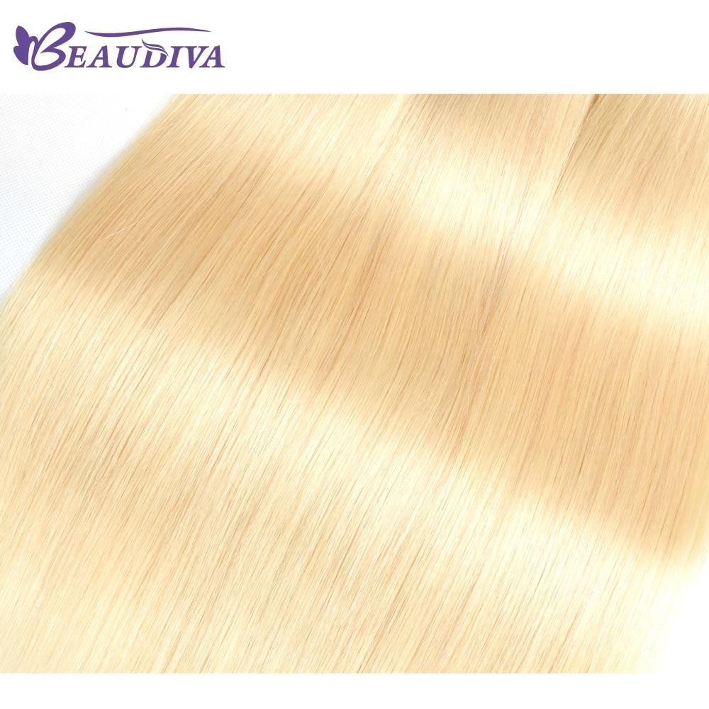 Beaudiva 613 блондинка Волосы Remy Малайзии прямые волосы 2 расслоения с 4*4 Синтетическое закрытие волос ткань 100% remy Человеческие волосы бесплатная...