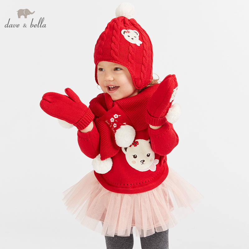 DBJ7862 dave bella baby Knitted Dress girls long sleeve autumn dresses kids red clothes children birthday party boutique dress db8431 dave bella baby autumn knitted dress girls long sleeve dress children party birthday costumes