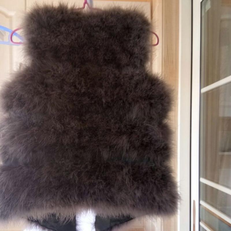 Новое поступление Винтажный стиль настоящий вязаный жилет из меха страуса жилет из натурального меха
