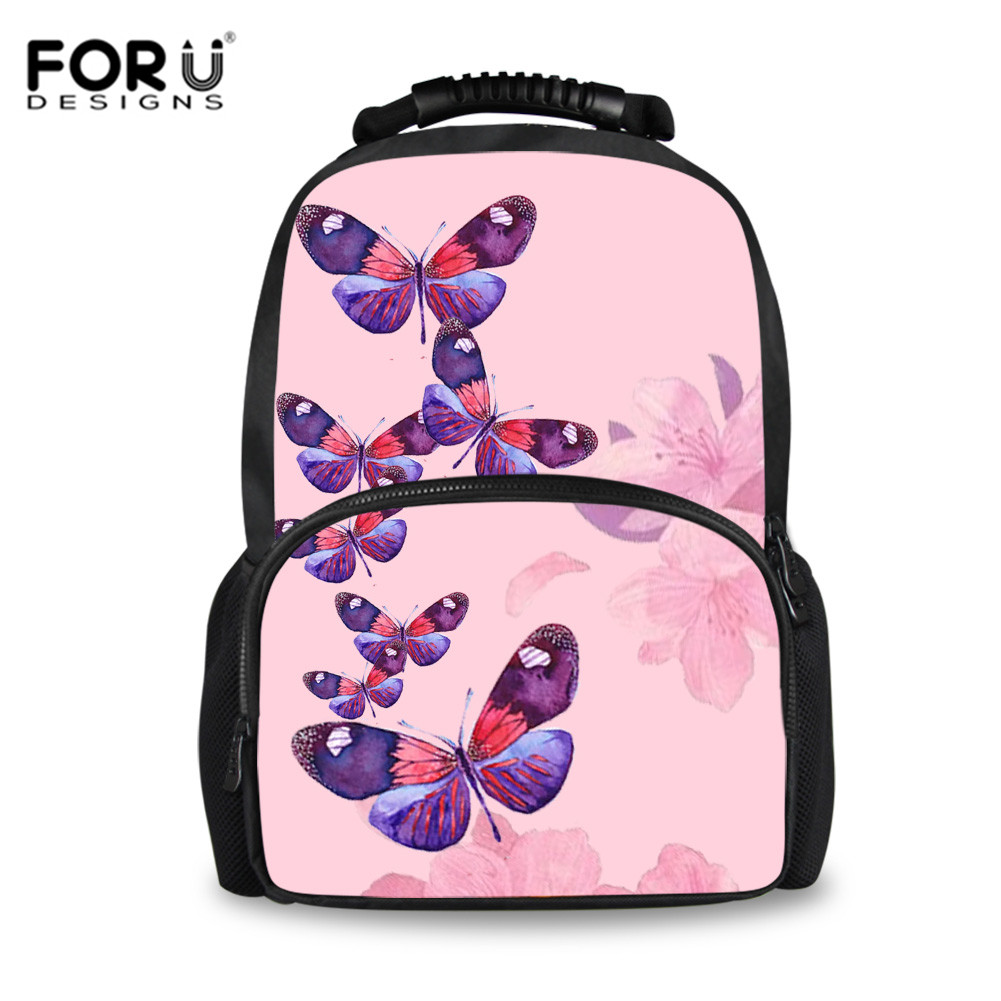 FORUDESIGNS Pink Butterfly Printed Large School Bags For Girls Bookbag Kids Schoolbag Satchels Women Travel Backpack Tornister