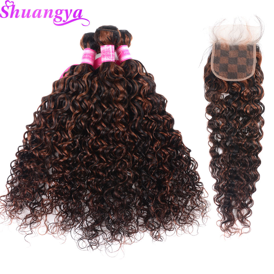 Shuangya Hair Human Hair Bundles With Closure 1B 33 Piano Color Brazilian Water Wave 3 Bundles