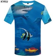 KYKU Shark T-shirt Men Fish 3d T Shirt Animal Funny Shirts Blue Ocean Tropical Printed Tshirt Punk Rock Casual Mens Clothing