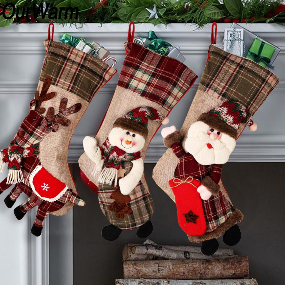 OurWarm Large Christmas Stocking Santa Claus Sock Plaid Burlap Gift Holder Christmas Tree Decoration New Year Gift Candy Bags-in Stockings & Gift Holders from Home & Garden