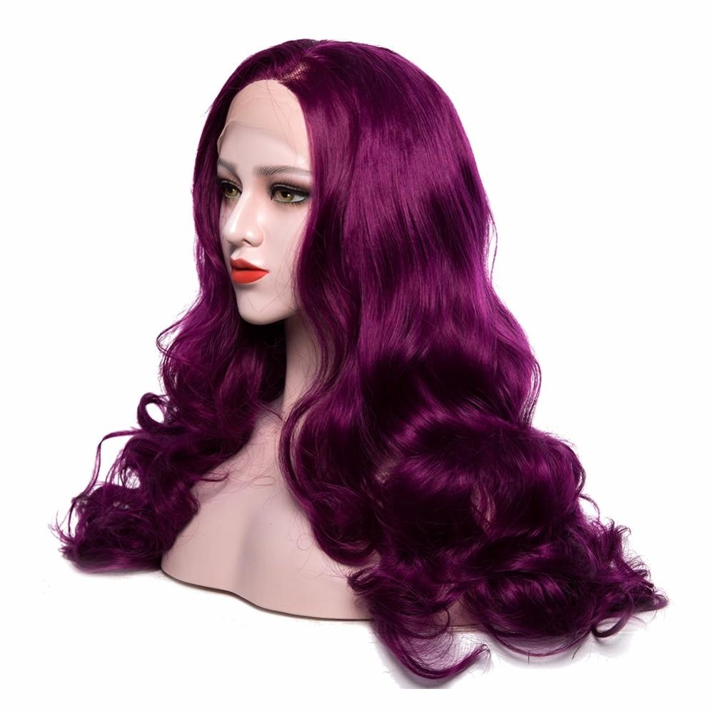 Μωβ Συνθετική Lace μπροστινή περούκες - Συνθετικά μαλλιά - Φωτογραφία 3