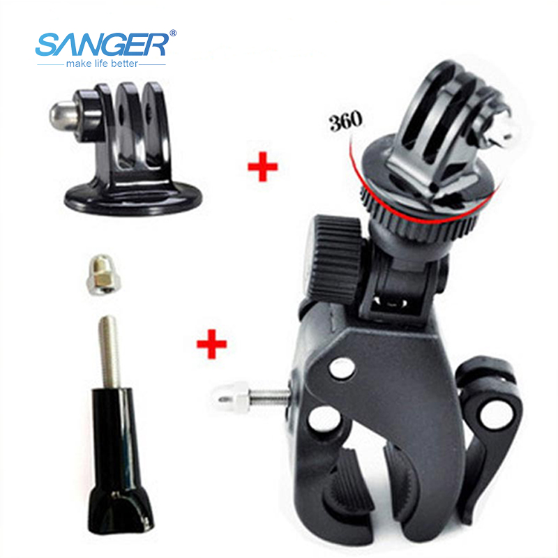 SANGER for Gopro Accessories Rotatable Bicycle Handlebar Mount Holder Adapter Clip Bracket for Xiaomi Yi Go pro Hero 5 4 3 SJCAM pannovo universal abs plastic bicycle bracket holder mountt for gopro hero 4 2 3 3 grey