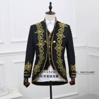 In 2018 Male suit formal dress royal loading male royal loading black embroidered suit clothes fashion The singer's clothing