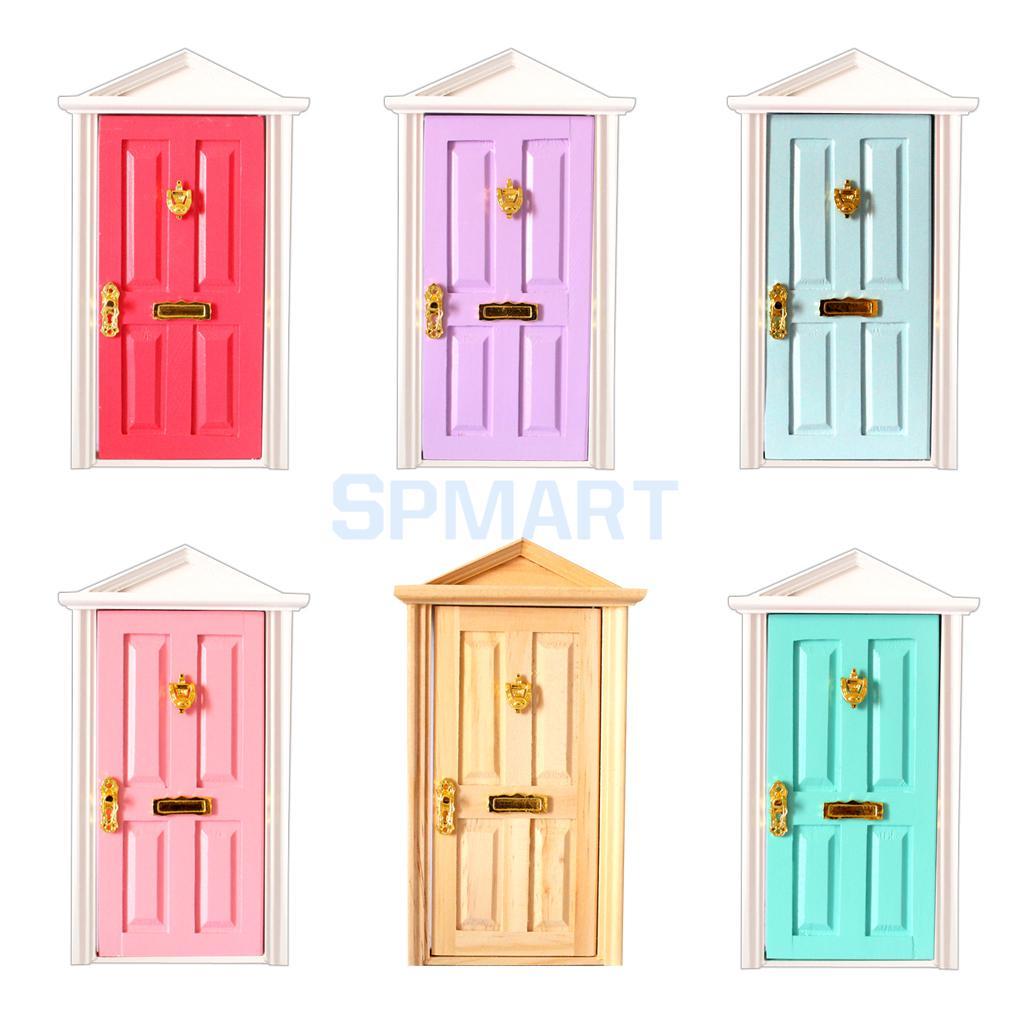 1:12 Scale Doors for Dolls House Miniature Wooden Steeple top Door with Hardware entrance door handle solid wood pull handles pa 377 l300mm for entry front wooden doors