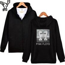 BTS Pink Floyd Hooded Sweatshirt Zipper Black Long Sleeve Cotton Sweatshirt Men's Hooded Rock Music Band Hip Hop Casual Clothing