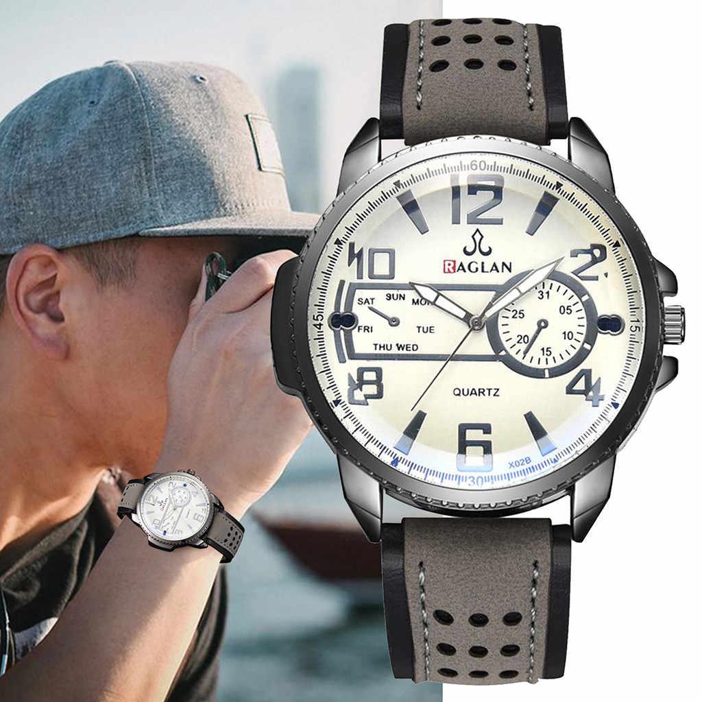 Homens Relógio de Couro relógio de Pulso de Quartzo Moda de Alta Qualidade de Vidro Blu Ray heren horloge zegarek meski zwart zilver kol saati