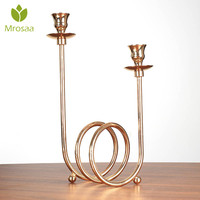 Mrosaa Metal Circle Wedding Candle Holders Wedding Candle Stand Candlestick Candelabra holder for Home wedding Decoration
