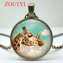 2018 / Fashion Hot Circus Giraffe Art Pattern Glass Round Pendant Necklace for Men and Women Wearing Jewelry Necklaces(China)