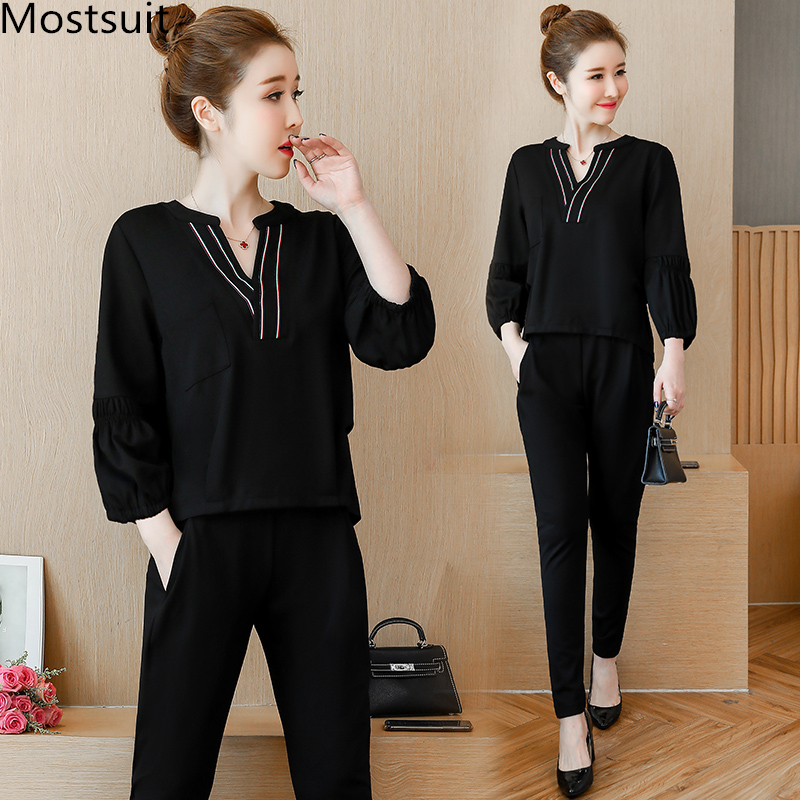 L-5xl Black Casual Two Piece Set Women Lantern Sleeve V-neck Tops And Elastic Pants Suits Fashion Korean Spring Autumn Sets 2019 31