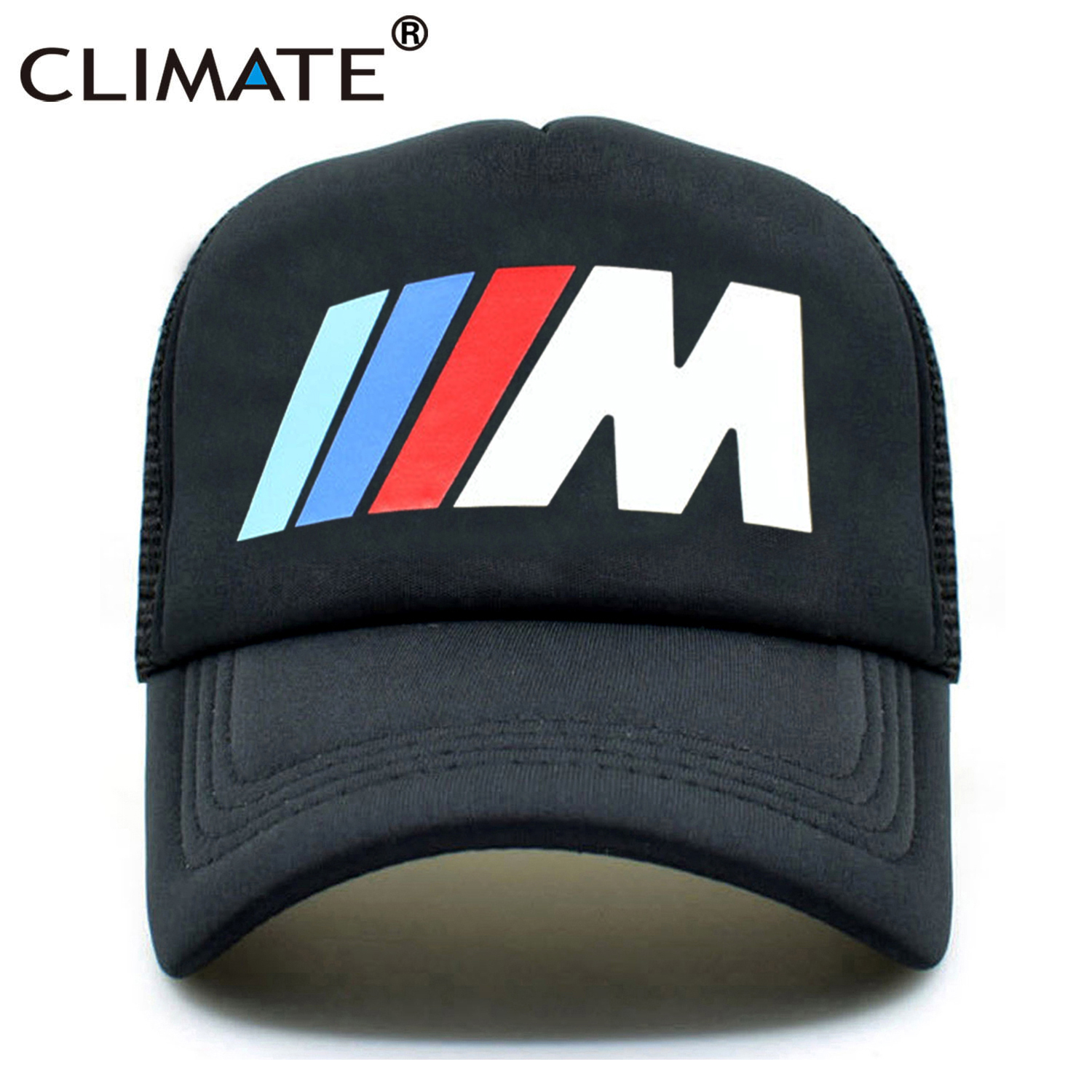 CLIMATE Men New Mesh Trucker Caps M3 M5 Car Fans Cool Summer Adult Logo Cool Black Baseball Mesh Net Trucker Caps Hat for Men