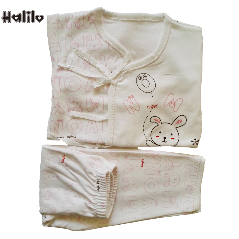 купить 100% Cotton Newborn Baby Clothes Baby's Sets 2 Colors Cartoon Girls And Boys Baby Clothing Set Comfortable Baby Underwear Suit онлайн