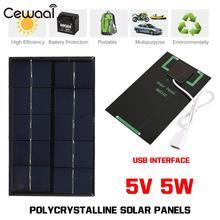 Portable USB Solar Panel Tablet Solar Charger Pane Outdoor Solar Generator 5W 5V
