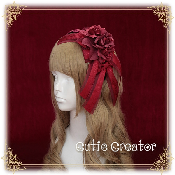 [Revolution]+Poen of the Fallen Kingdom+Rosa odorata sweet Headbow Lolita Hairbands Original Design