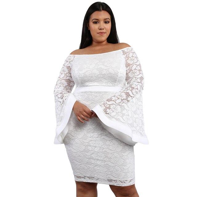 df6761fc434 Women New Autumn White Plus Size Lace Bell Long Sleeve Bodycon Dress Slash  Neck Knee Length Midi Dress