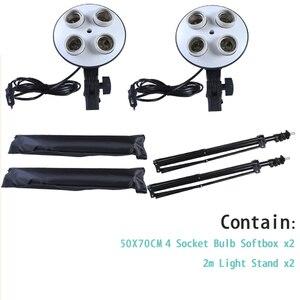 Image 3 - מפזר אור 50*70cm רציף תאורת Softbox עבור 4 in 1 שקע E27 מנורת בעל עם 2Pcs 2M אור Stand ערכת סטודיו צילום