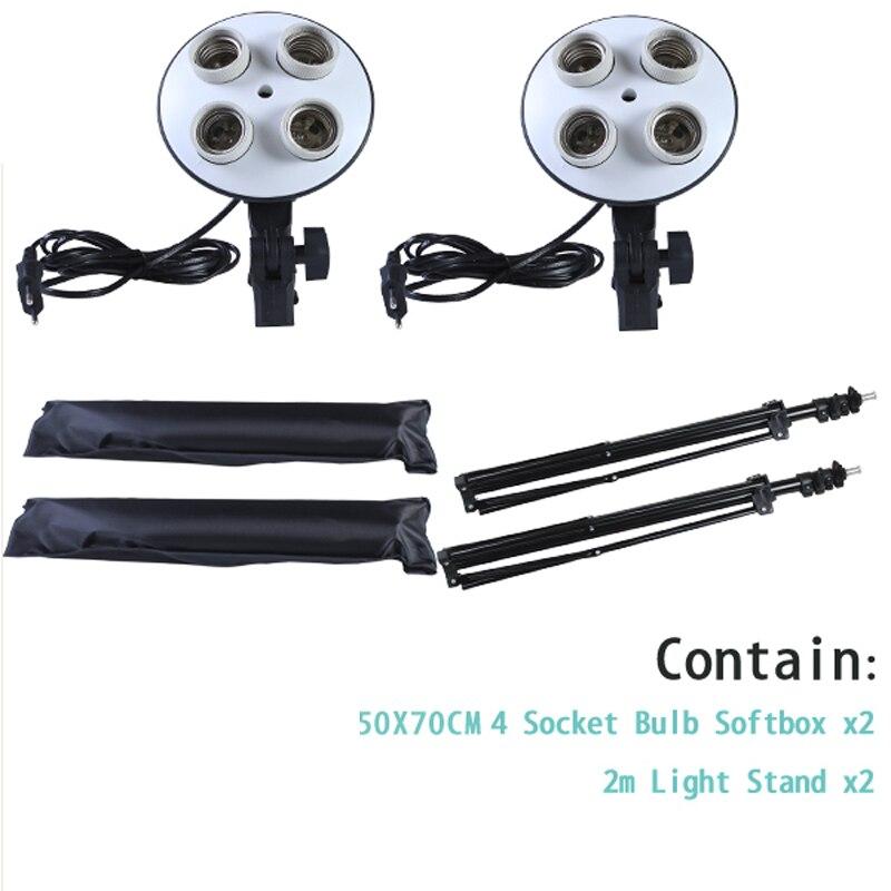 Diffuseur lumière 50*70cm éclairage continu Softbox pour 4-en-1 douille E27 support de lampe avec 2 pièces 2M support de lumière Kit de Studio Photo - 3