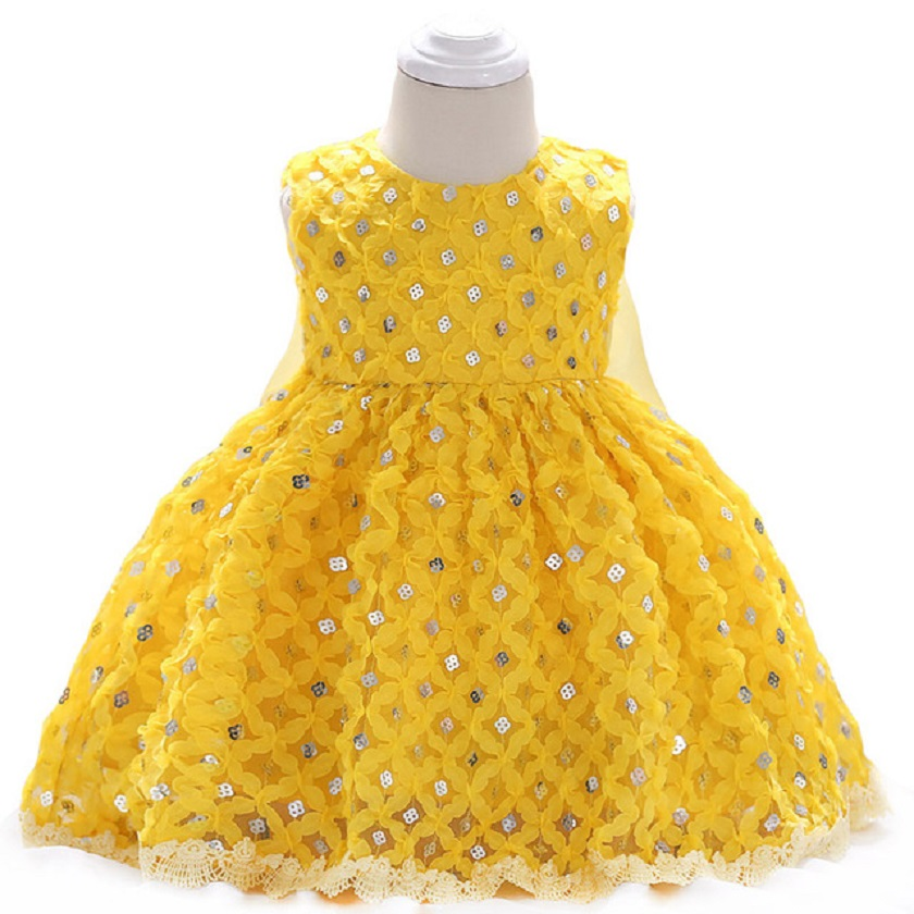yellow Newborn Clothes Summer Baby Girls Sequins Princess Dress Girls Party Dresses Infant Ball Gown 1 Year Birthday Dresses