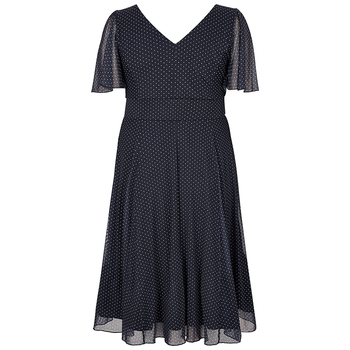 Kissmilk Plus Size Women Office Lady Casual Dot Print Deep V Neck Short Sleeve High Waist  Wrinkle Hem A Line Midi Dress 3
