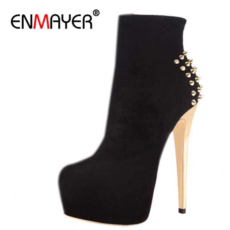 ENMAYER Shoes Woman High Heels Round Toe Boots Shoe Plus Size 35-46 Ankle Boots for Women Platform Shoes Rivets Charms Black enmayer low heels wedges shoes woman slip on knee high boots for women round toe winter warm boots tassels charms platform shoes