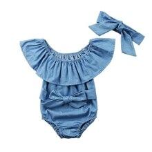 Красивая летняя Милая Одежда для маленьких девочек; джинсовый комбинезон комплект комбинезона без рукавов комбинезон с повязкой на возраст от 0 до 24 месяцев детская одежда Лидер продаж