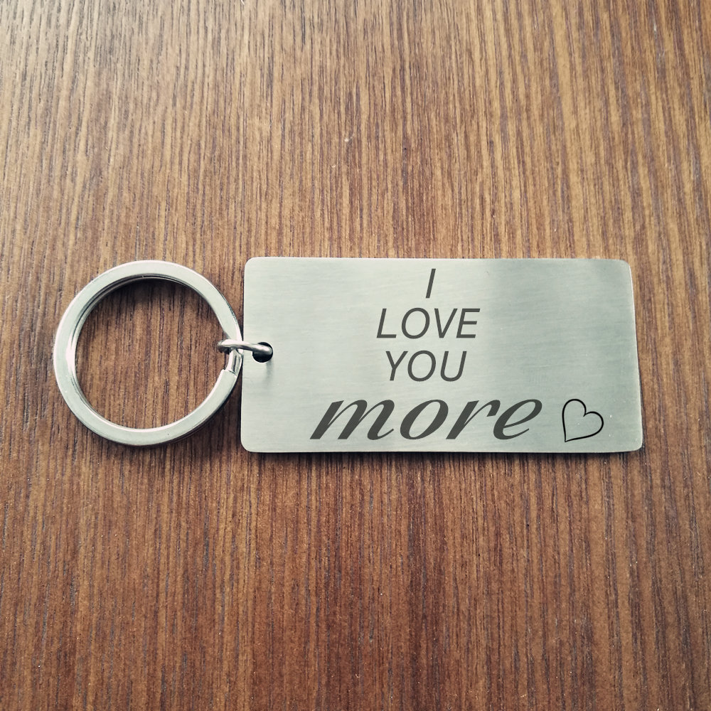 I Love You More Keychain Personalized Guy Keychain Boyfriend Keychain Custom Personalized Key chain Keychain Husband Fiance Gift