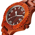 Hombre Fecha Relojes de Los Hombres De Madera de Madera Roja Natural masculino relogio del Reloj de la Marca de Lujo de Cuarzo Ocasional Reloj Resistente A los Golpes