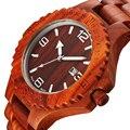 Masculino Data de Vermelho Natural De Madeira Relógios de Madeira Homens Relógio de Luxo Da Marca Casual Quartz Relógio de Pulso relogio masculino Resistente Ao Choque