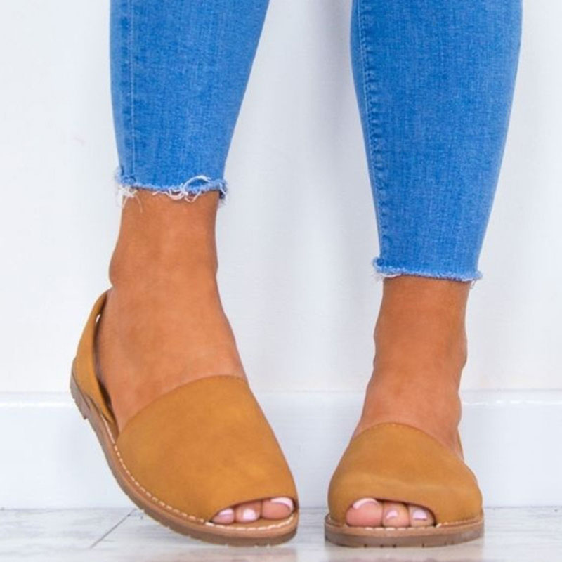 MCCKLE Summer Sandals Women Plus Size Flats Female Casual Peep Toe Shoes Faux Suede Slip On Elastic Band Leisure Solid Footwear