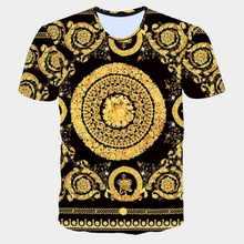 283d8ed122 Los hombres de la marca de moda de oro de la flor camiseta verano 3D azul Camiseta  Hombre de manga corta de lujo real barroco ho.