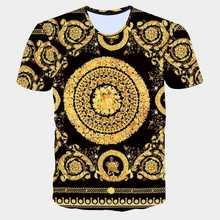 Fashion Brand Men Golden Flower T shirt Summer 3D Print Blue T Shirt Homme Short Sleeve