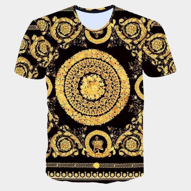 Mode Marque Hommes D'or Fleur T-shirt D'été 3D Impression Bleu