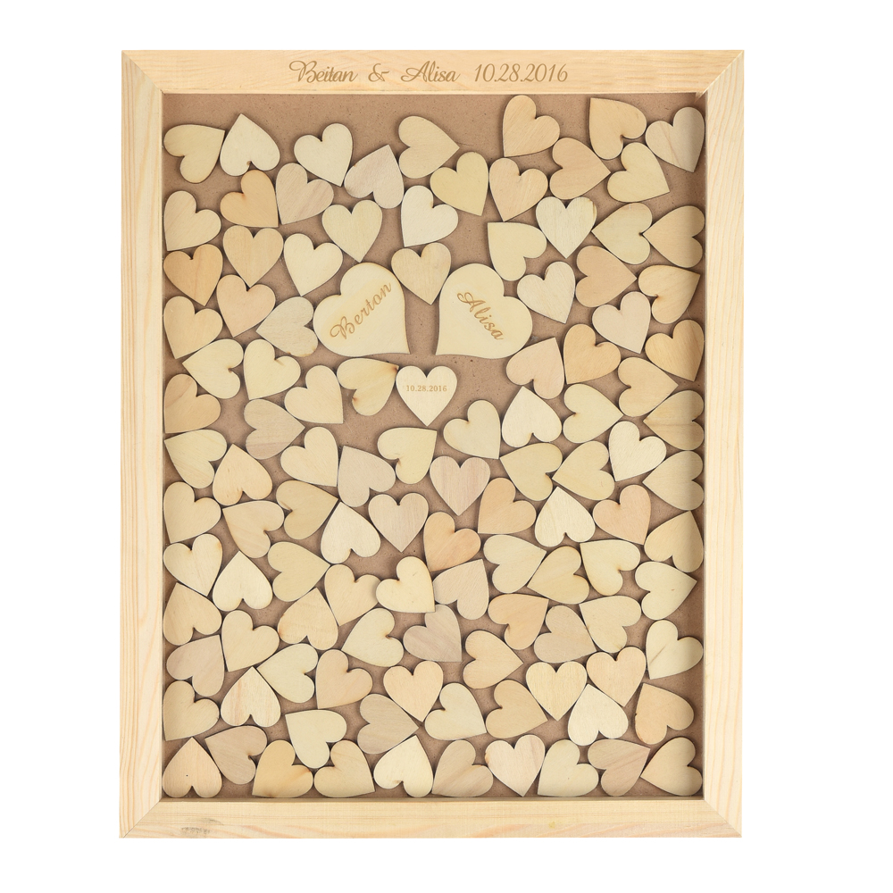 Personalized Engraved Rustic Wooden Wedding Guest Book Frame Custom Drop Top Box With 130 hearts Gift Decor