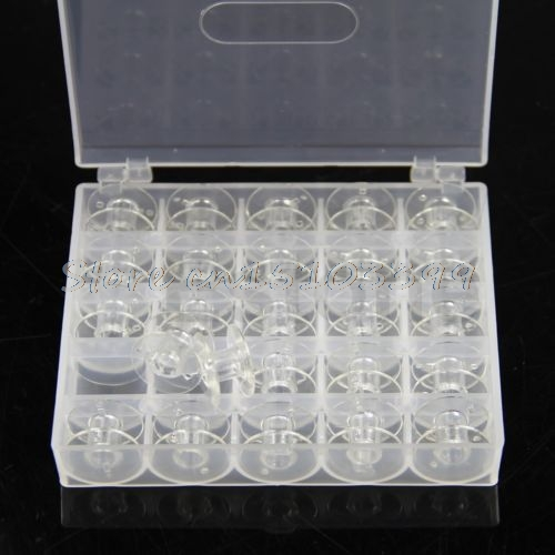 Hot Selling 25Pcs Plastic Empty Bobbins Case Tool Bag Box For Brother Janome Singer Sewing Machine Drop Ship